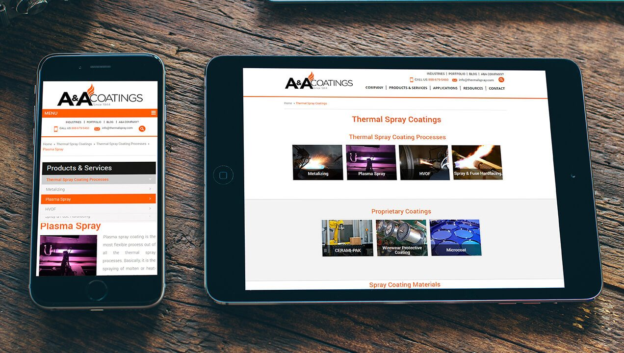 A&A Thermal Spray includes an Ipad and mobile responsive website