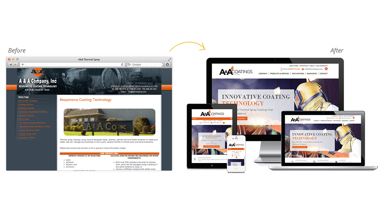 A&A Thermal Spray Website Design Before and After Preview
