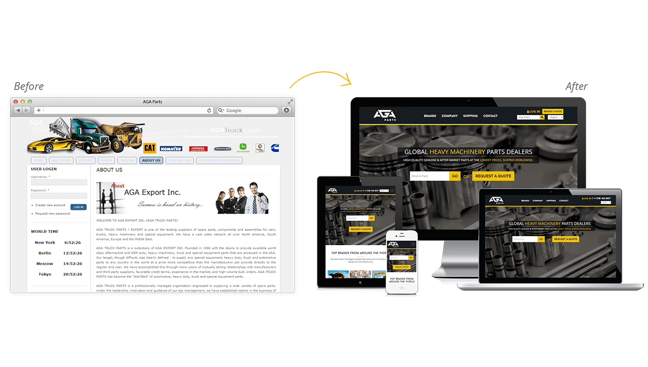 AGA Parts Before & After Website Redesign