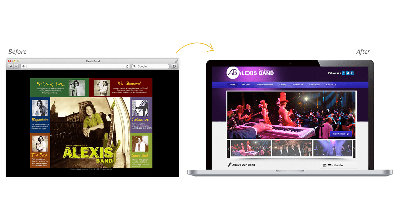 Alexis Band Before & After Website Redesign