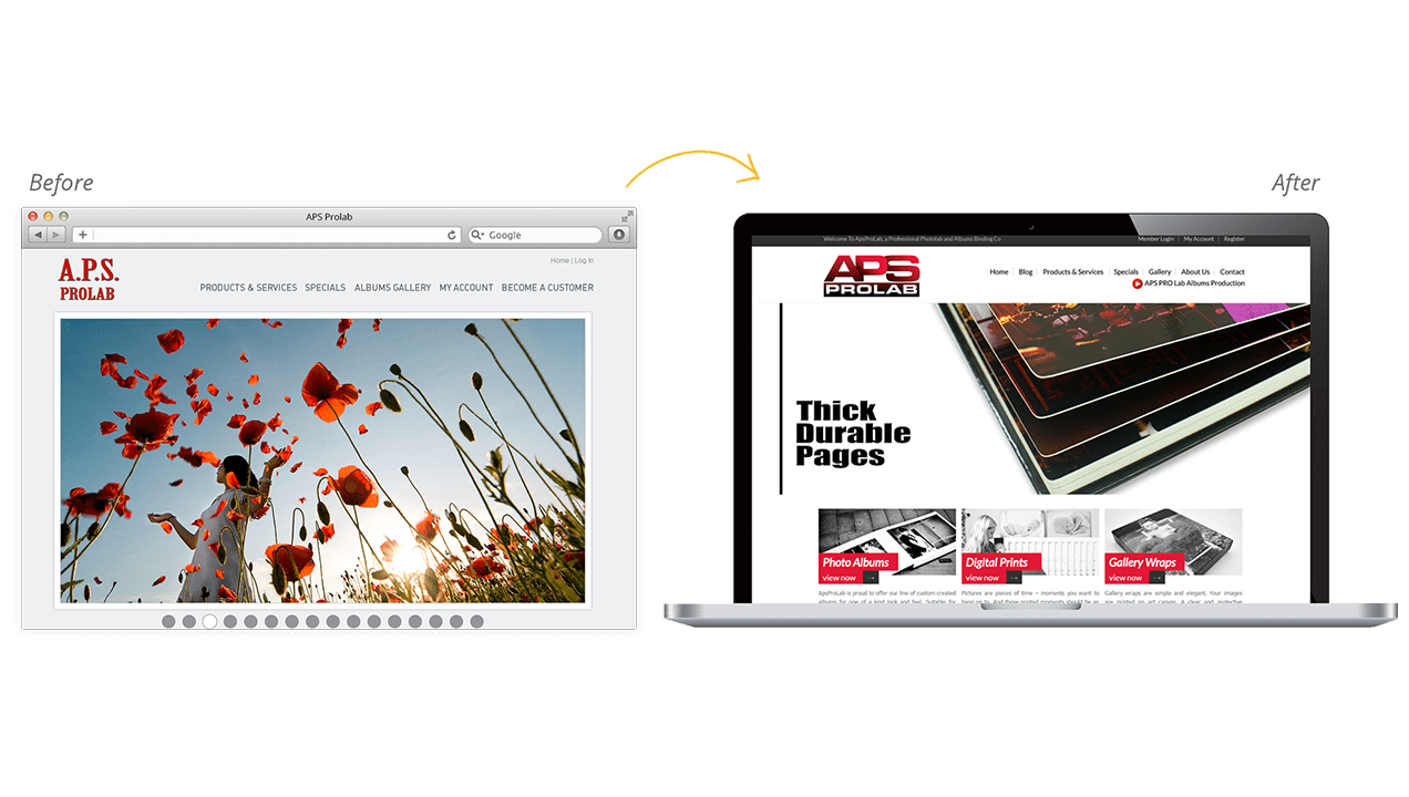 Aps Prolab Before & After Website Redesign