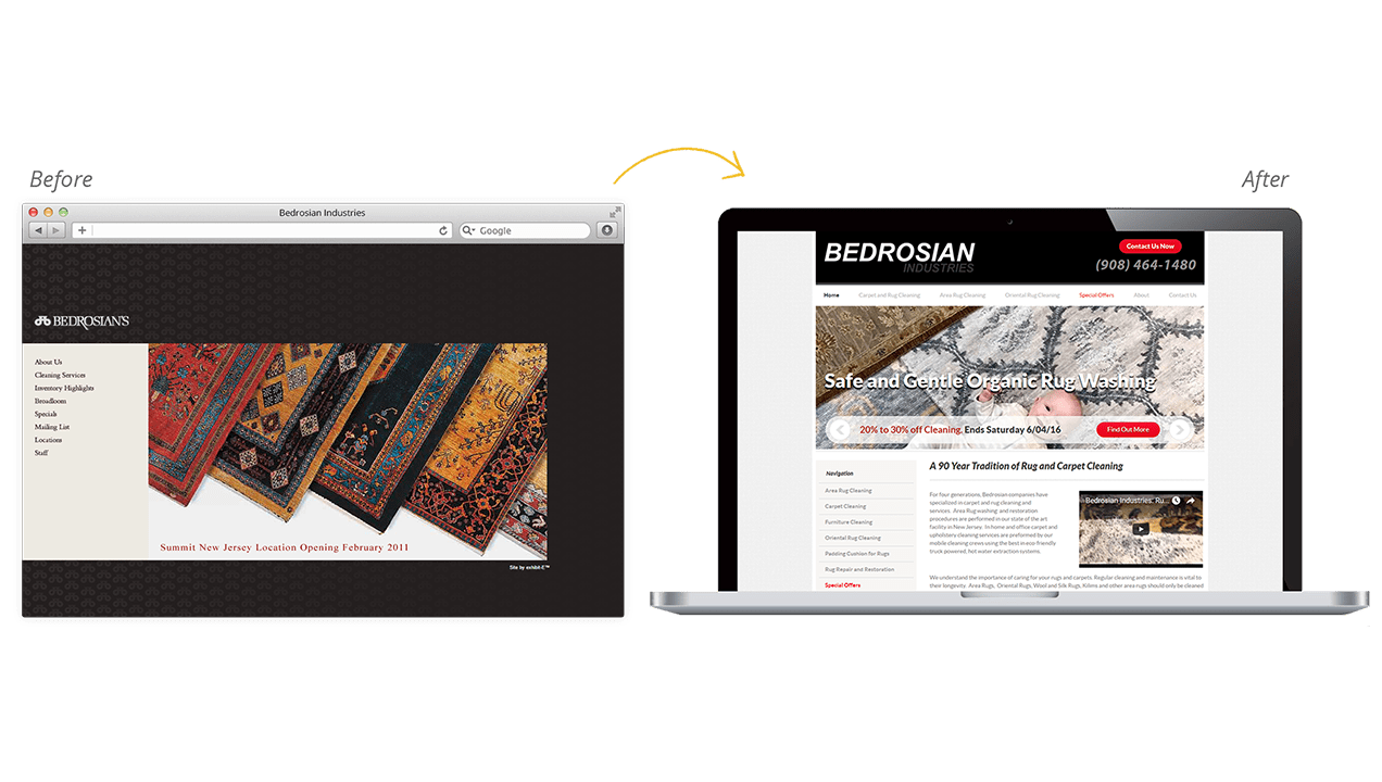 Bedrosian Industries Website Design Before and After Preview