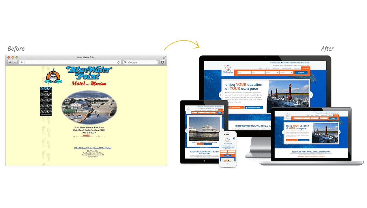 Blue Water Point Before & After Website Redesign
