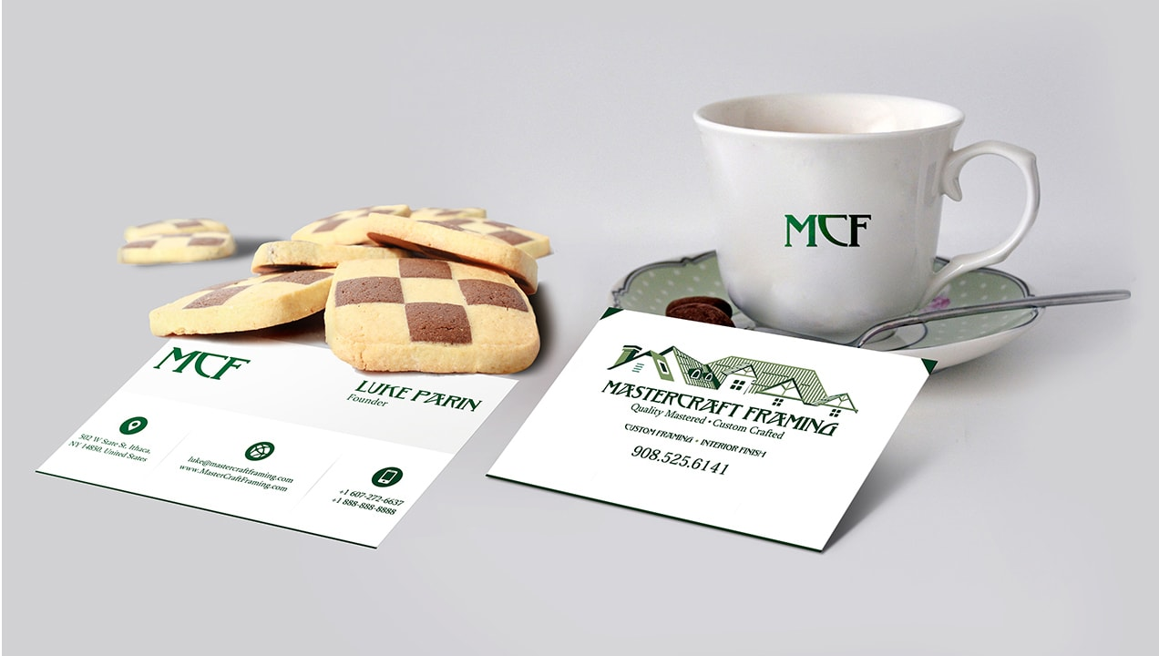 Brand redesign printed on business cards & tea cups