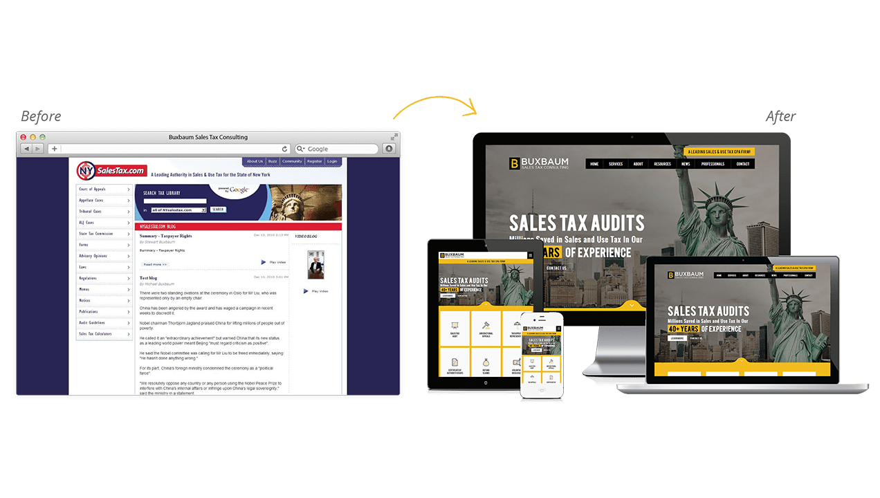 Buxbaum Sales Tax Consulting Before & After Website Redesign