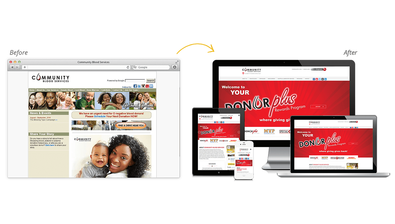 Community Blood Services Before & After Website Redesign