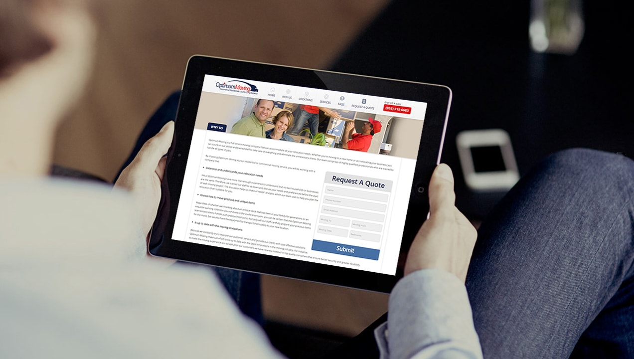 Optimum Moving Complete Website Redesign