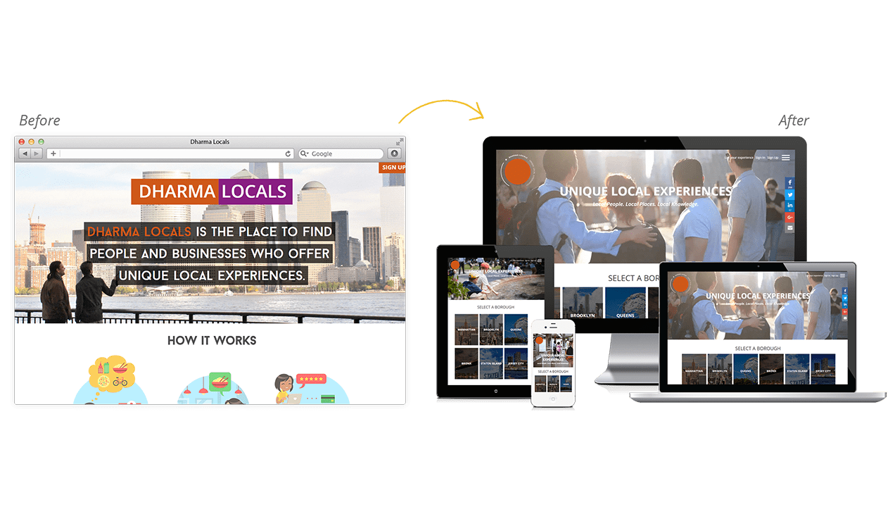 Dharma Locals Website Design Before and After Preview