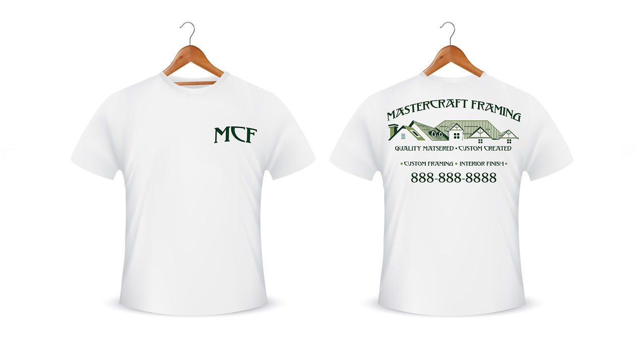 Brand redesign printed on custom white t-shirts