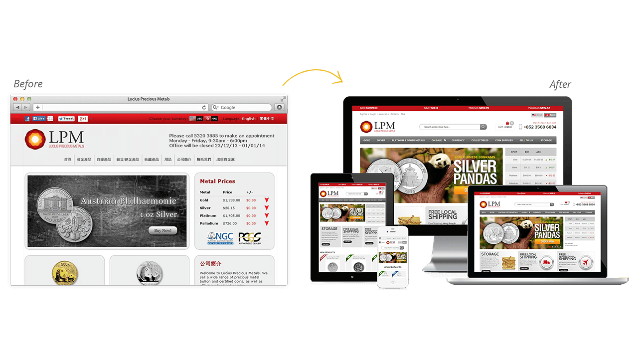 Lucius Precious Metals Before & After Website Redesign