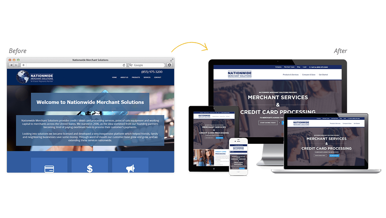 Nationwide Merchant Solutions Website Design Before and After Preview