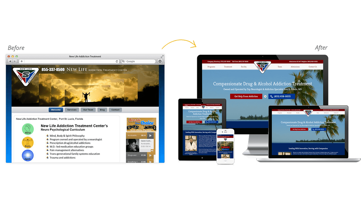 New Life Addiction Treatment Before & After Website Redesign