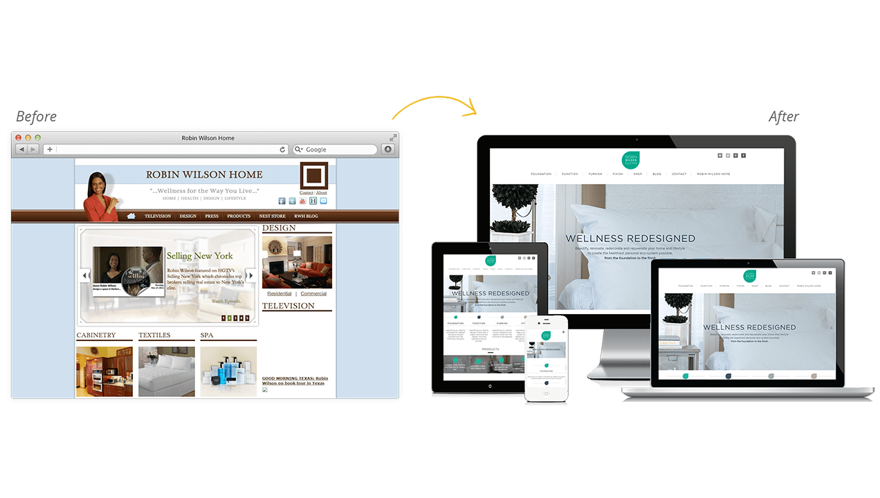 Robin Wilson Before & After Website Redesign
