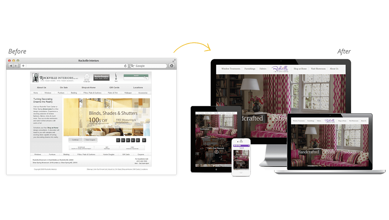 Rockville Interiors Before & After Website Redesign