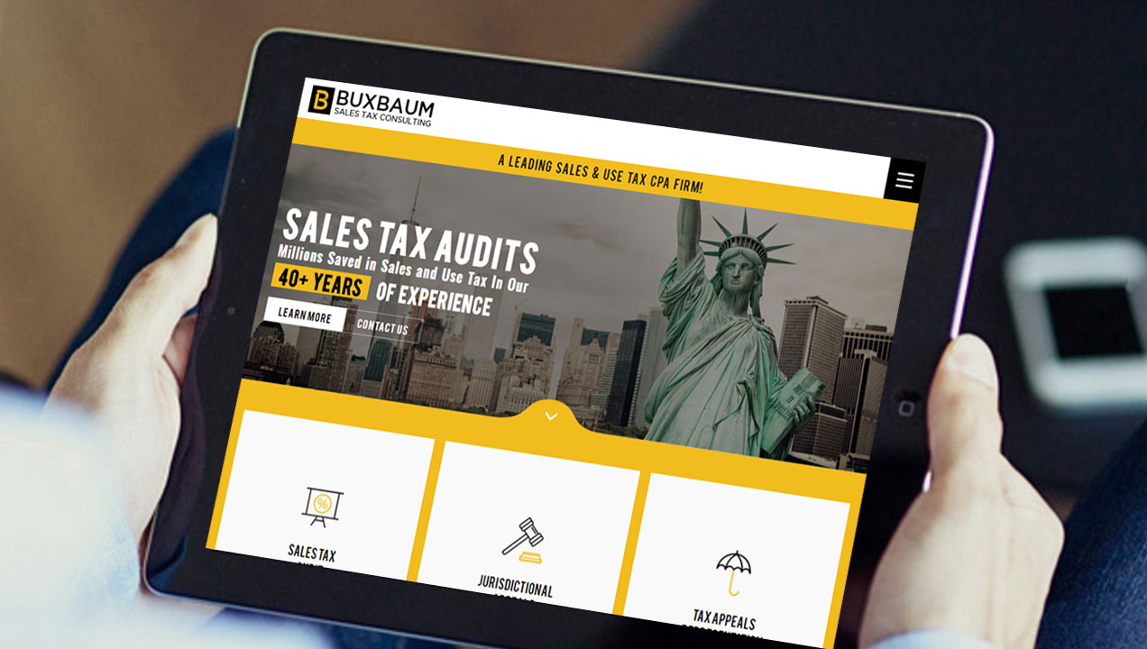 Buxbaum Sales Tax Consulting has tablet integrated website