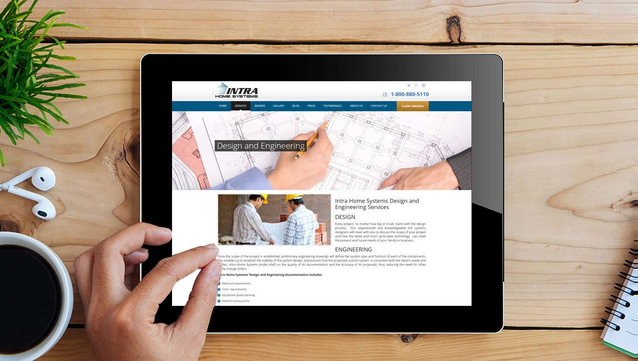 Intra Home Systems optimizes website for tablet view