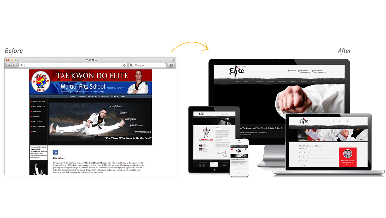 Taekwondo Elite Before & After Website Redesign