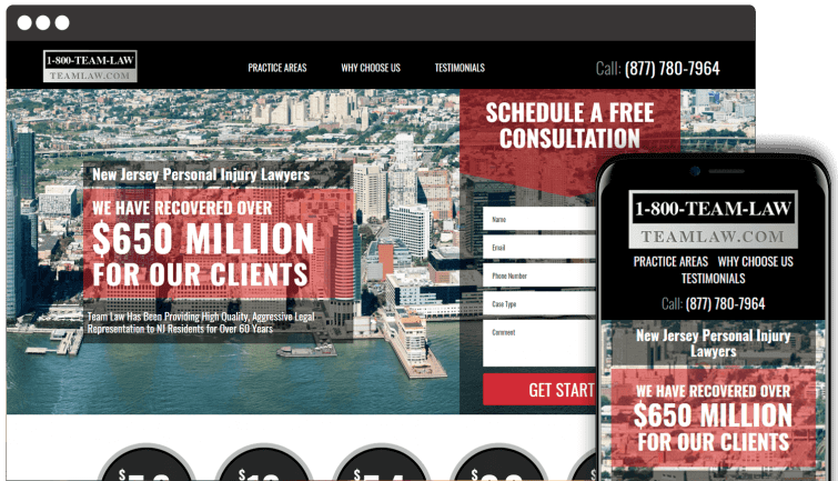 1-800 Team Law: Attorney & Law Website Redesign