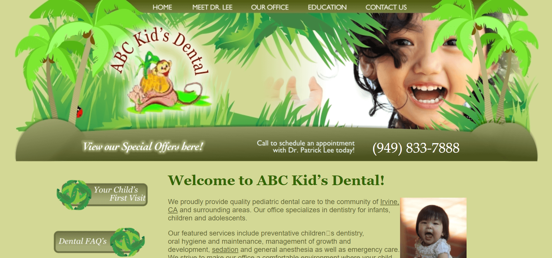 website for pediatric dental clinic example