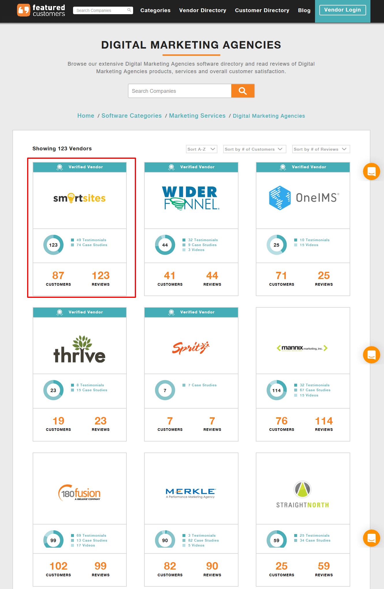 SmartSites Tops List Of Digital Marketing Agencies On FeaturedCustomers.com