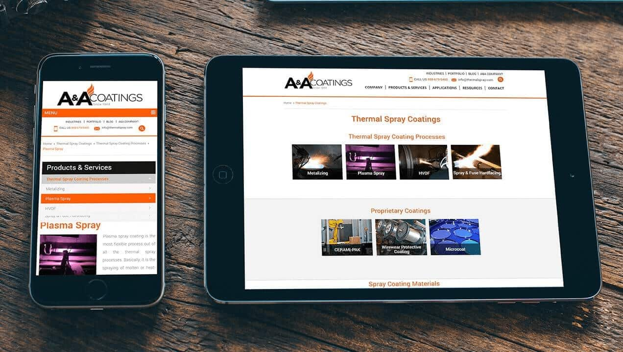 A&A Thermal Spray website on tablets