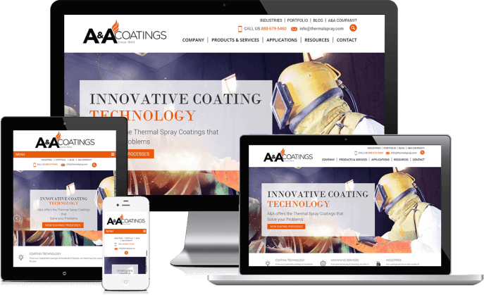 Custom website design for an industrial coating company