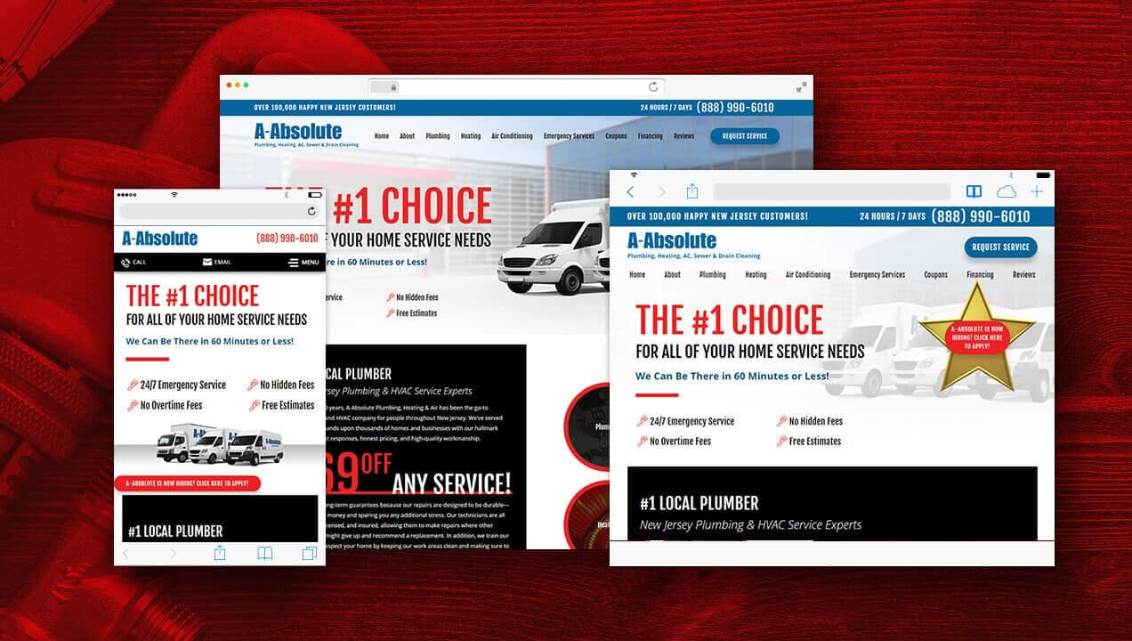 A-Absolute Plumbing website designs