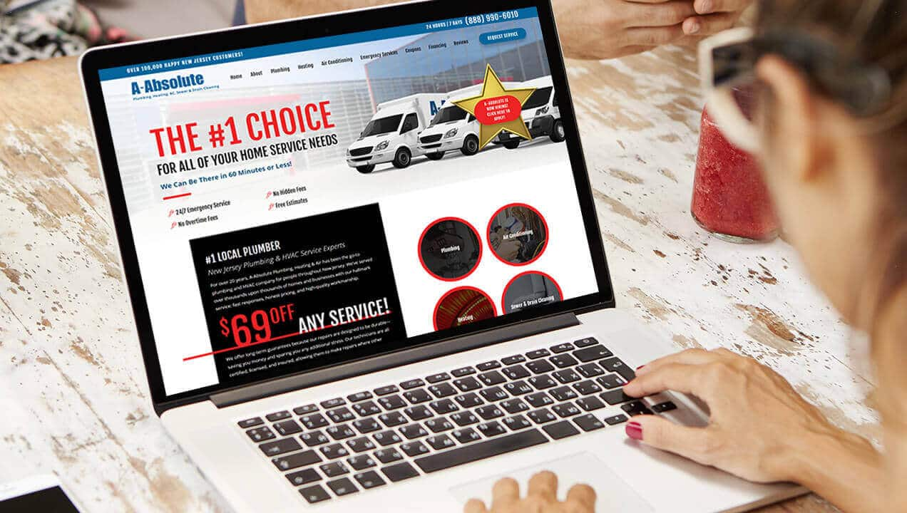 A-Absolute Plumbing website on a laptop