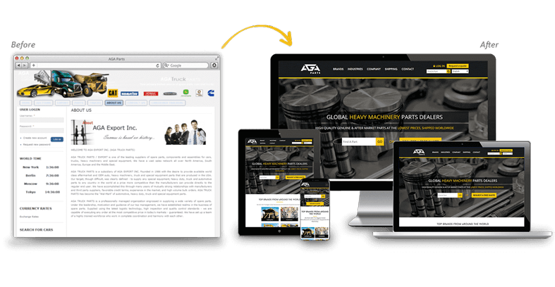 AGA Parts: Industrial Website Redesign