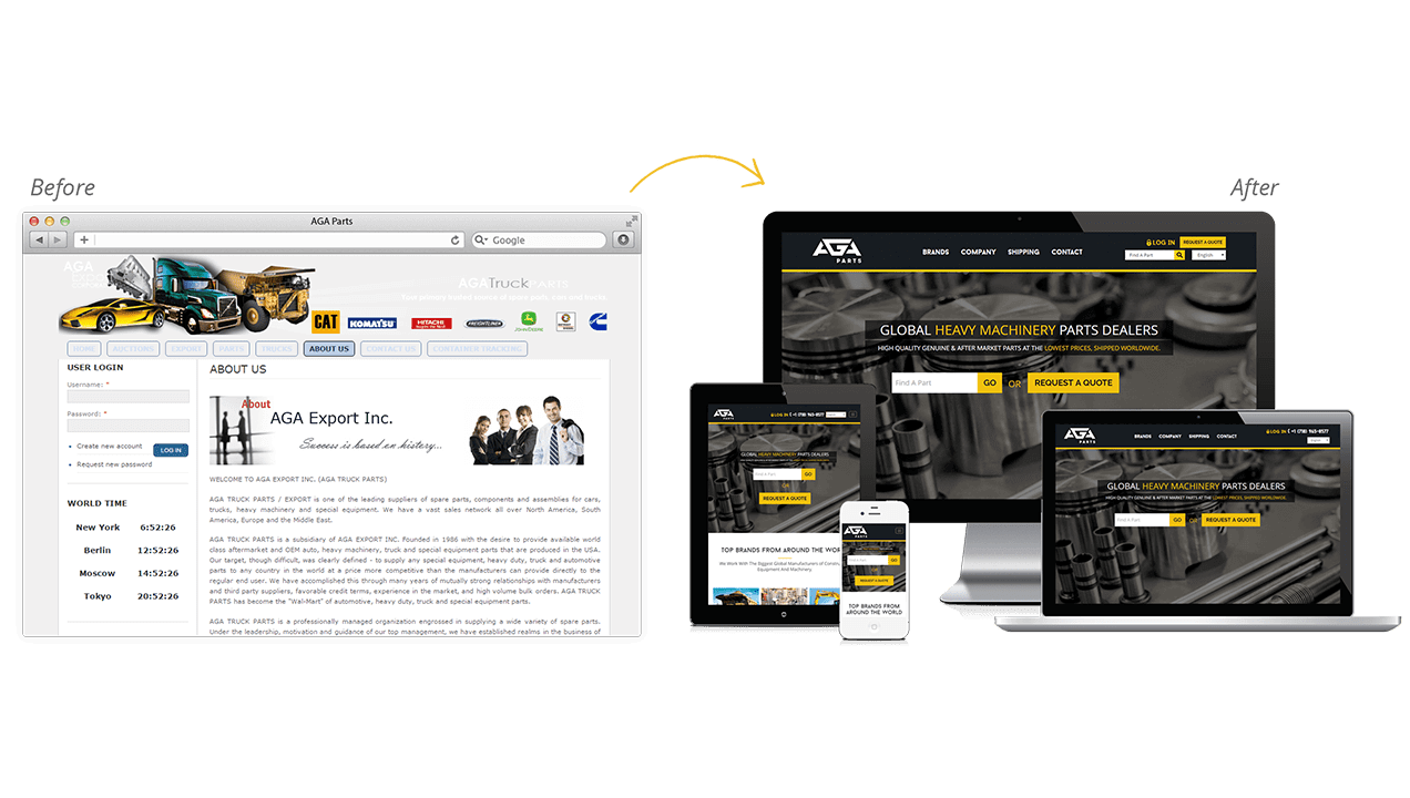 Aga Parts Website Design Before After