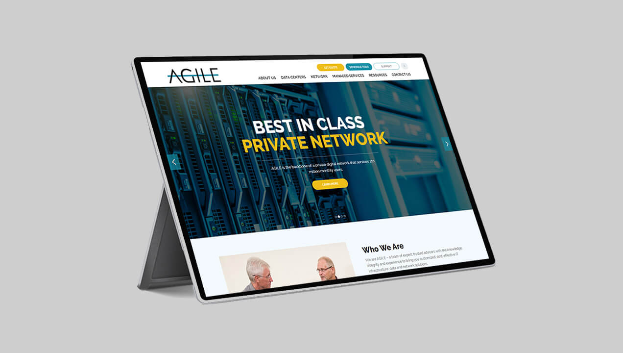 Agile Data website on a tablet