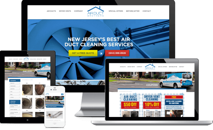 Custom website design for air duct cleaners