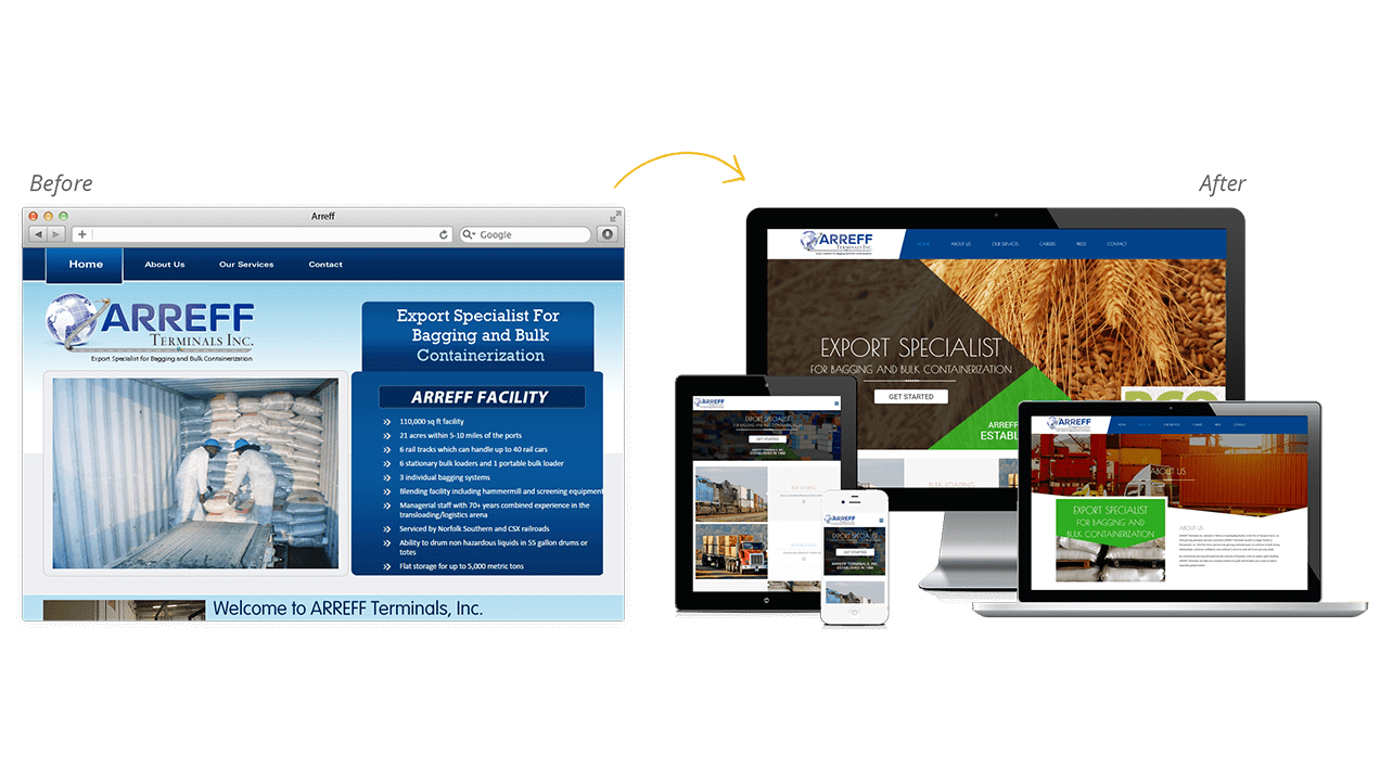 Arreff Website Design Before & After