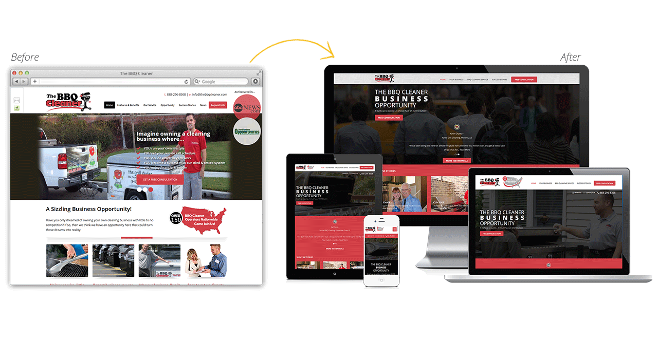 The BBQ Cleaner Website Redesign Before After