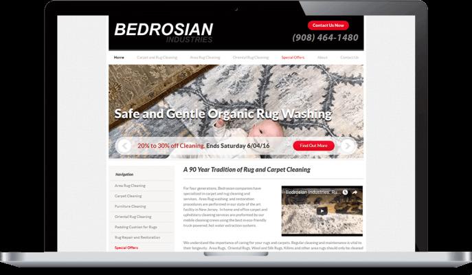 Custom website design for carpet cleaning services