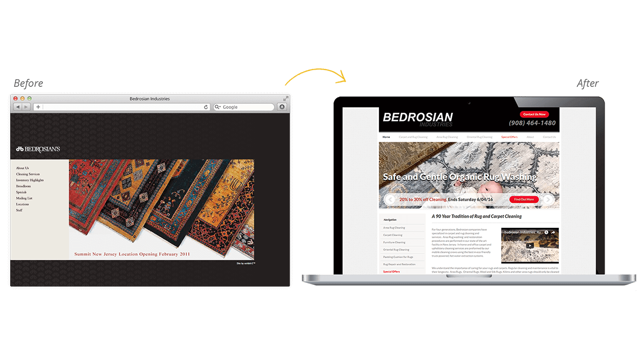 Bedrosian Industries Before After Website Designs