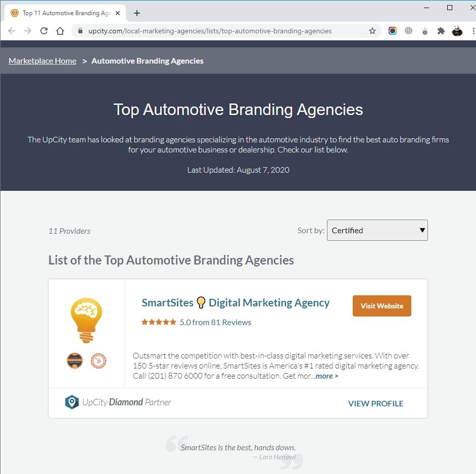 SmartSites Listed in Top Automotive Branding