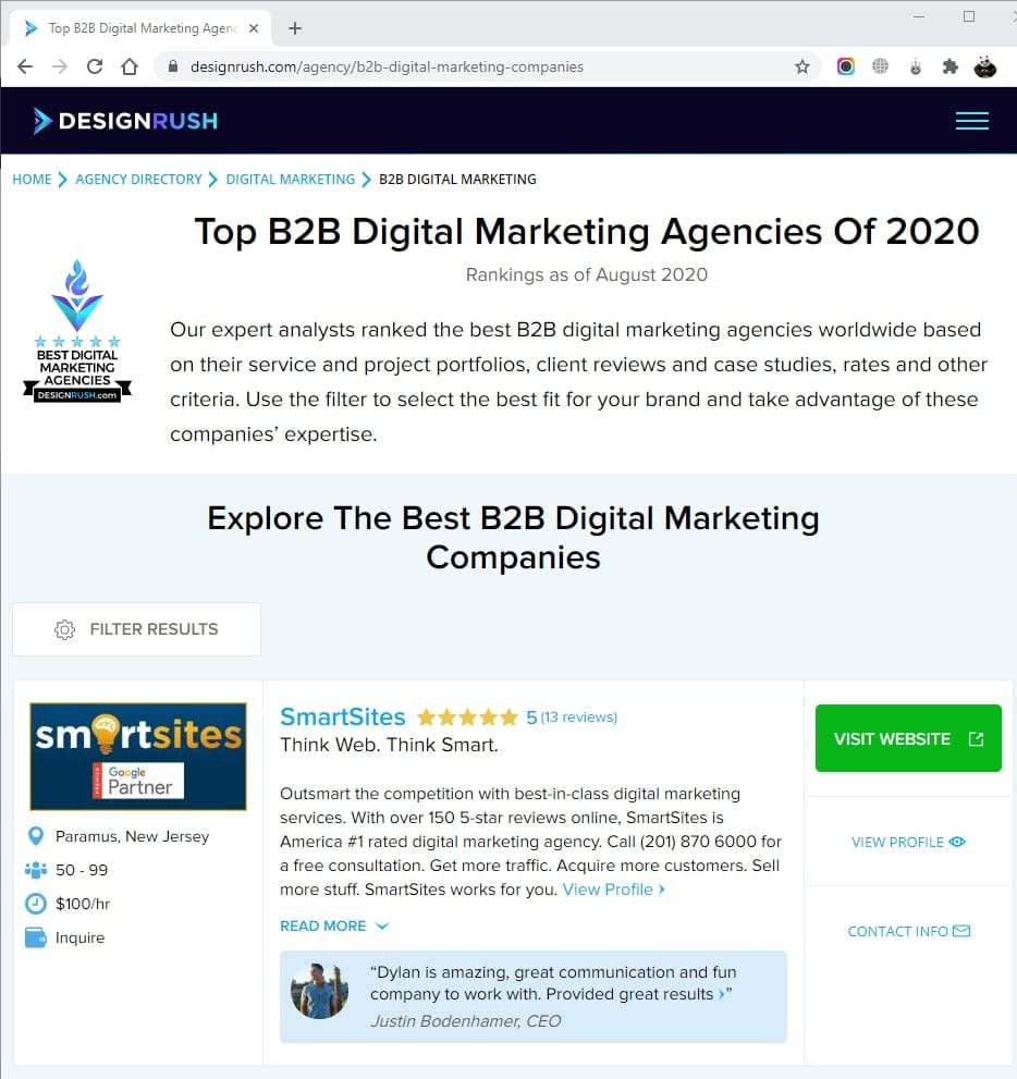 SmartSites Listed in Top B2B Digital Marketing