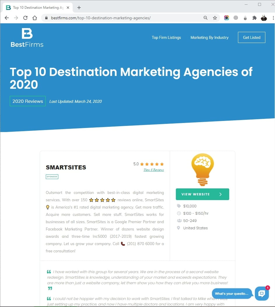 SmartSites Listed in Top Destination Marketing