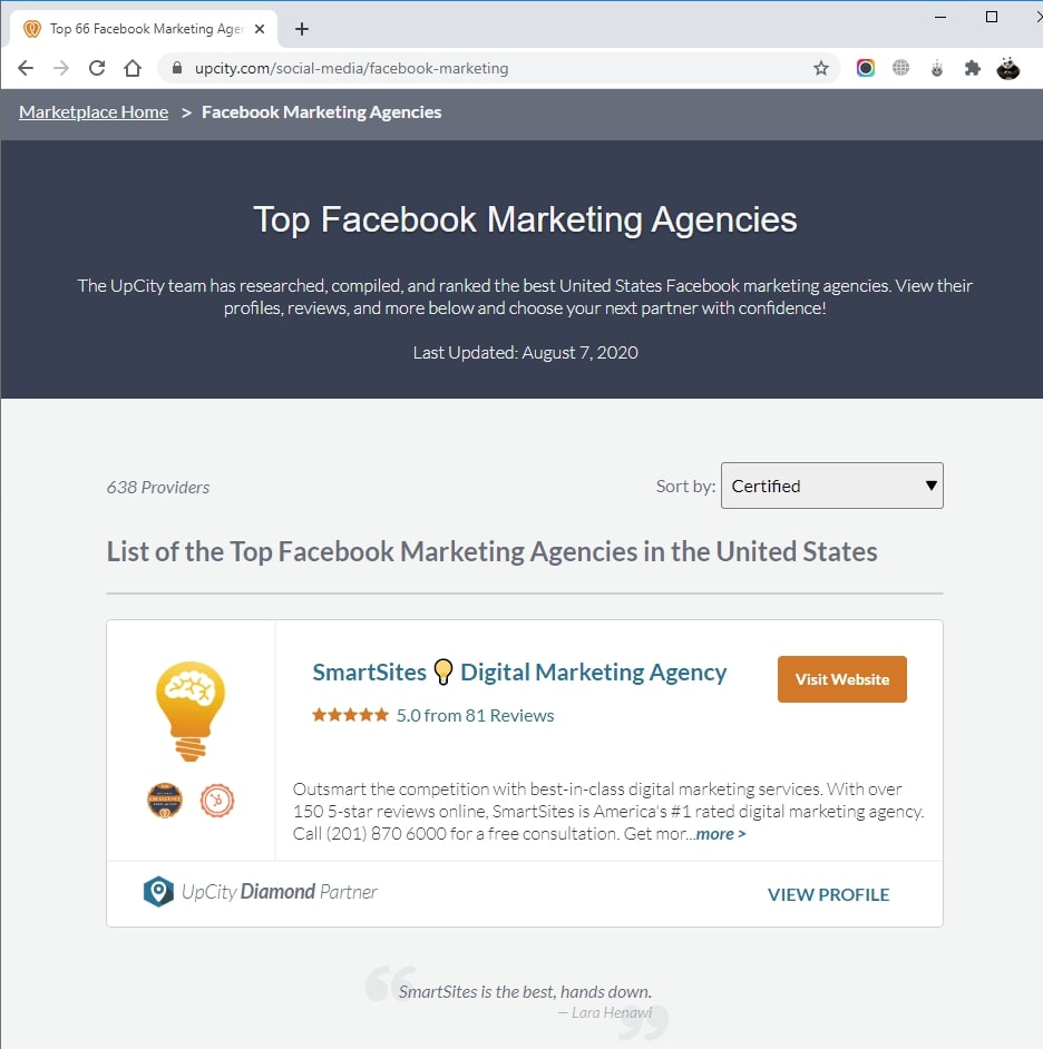 SmartSites Listed in Top Facebook Marketing