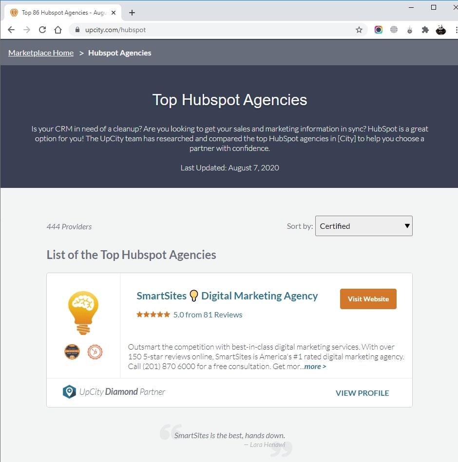SmartSites Listed in Top Hubspot Agencies