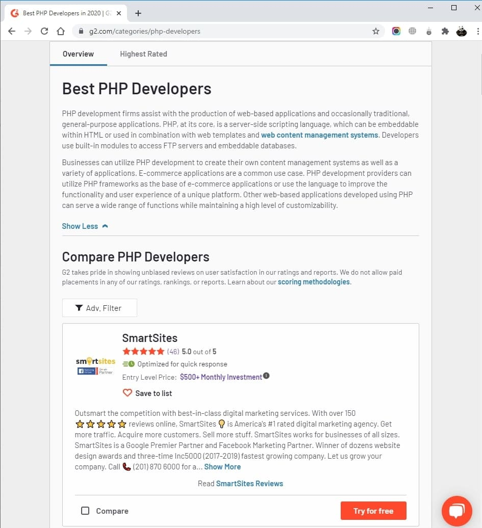 SmartSites Listed in Top PHP Development