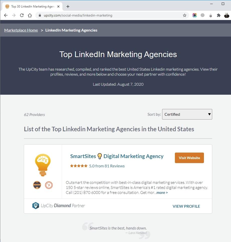 SmartSites Listed in Top LinkedIn Marketing