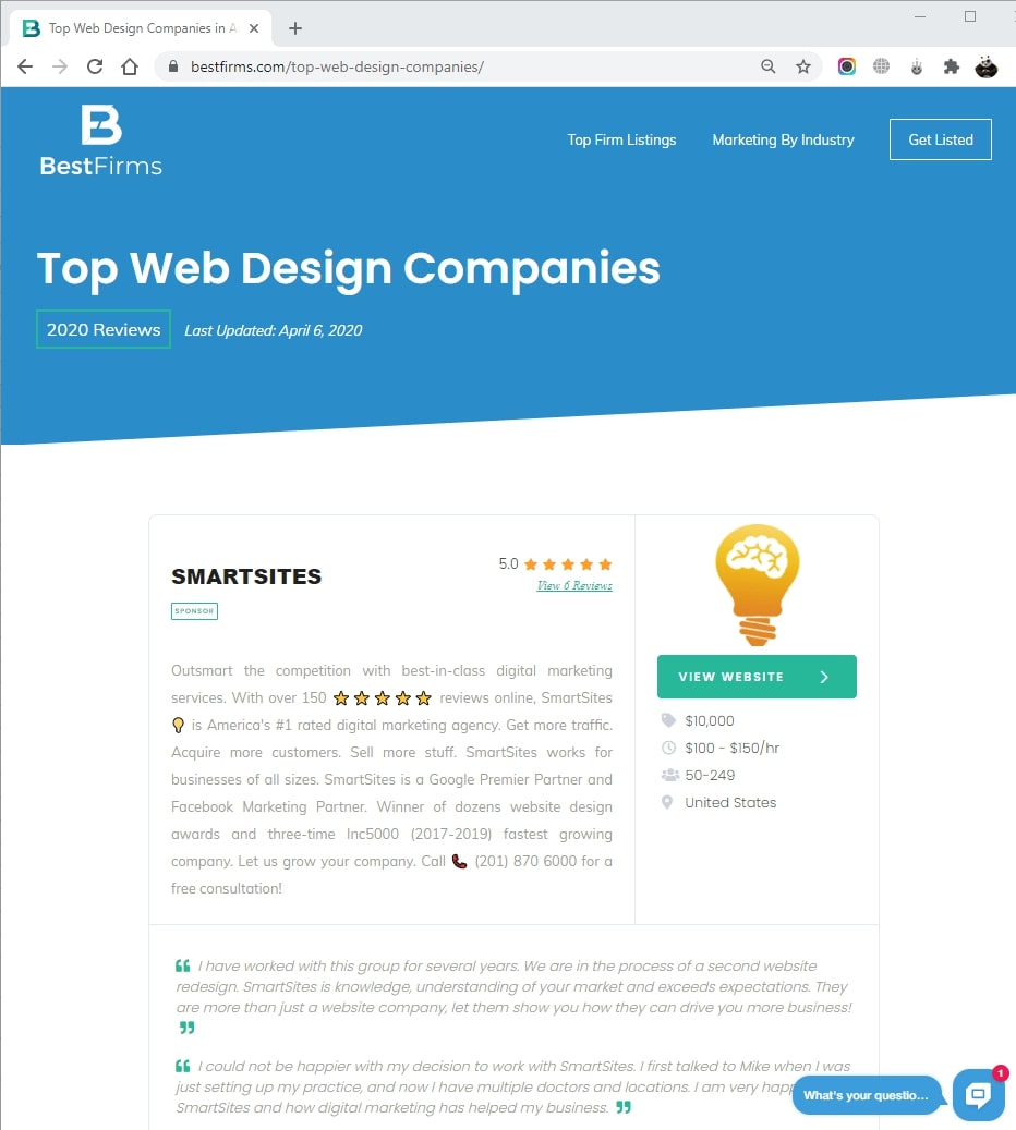SmartSites Listed in Top Web Design Agencies