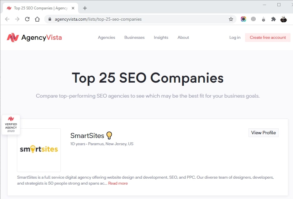 SmartSites Listed in Top SEO Companies