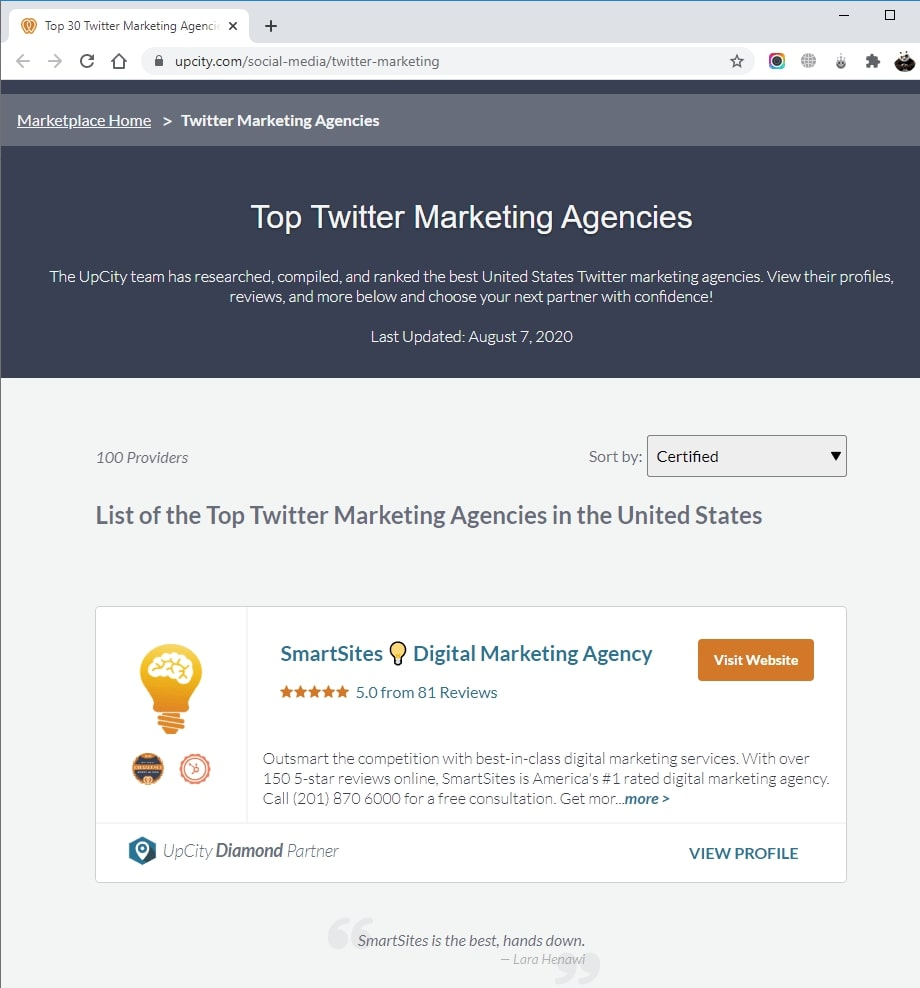 SmartSites Listed in Top Twitter Advertising