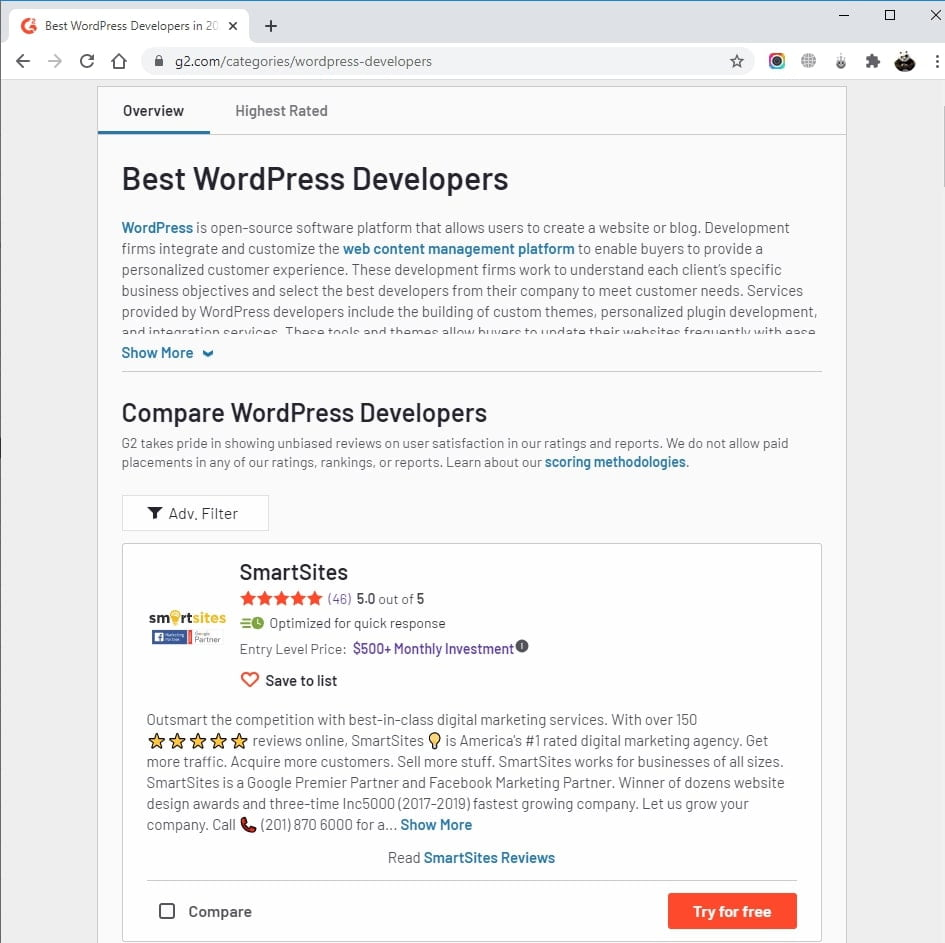 SmartSites Listed in Top WordPress Developers