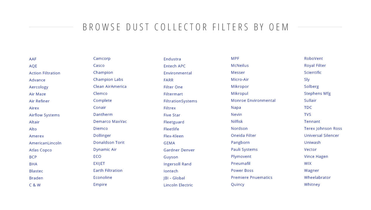 Clark Filters Direct dust collection filter list