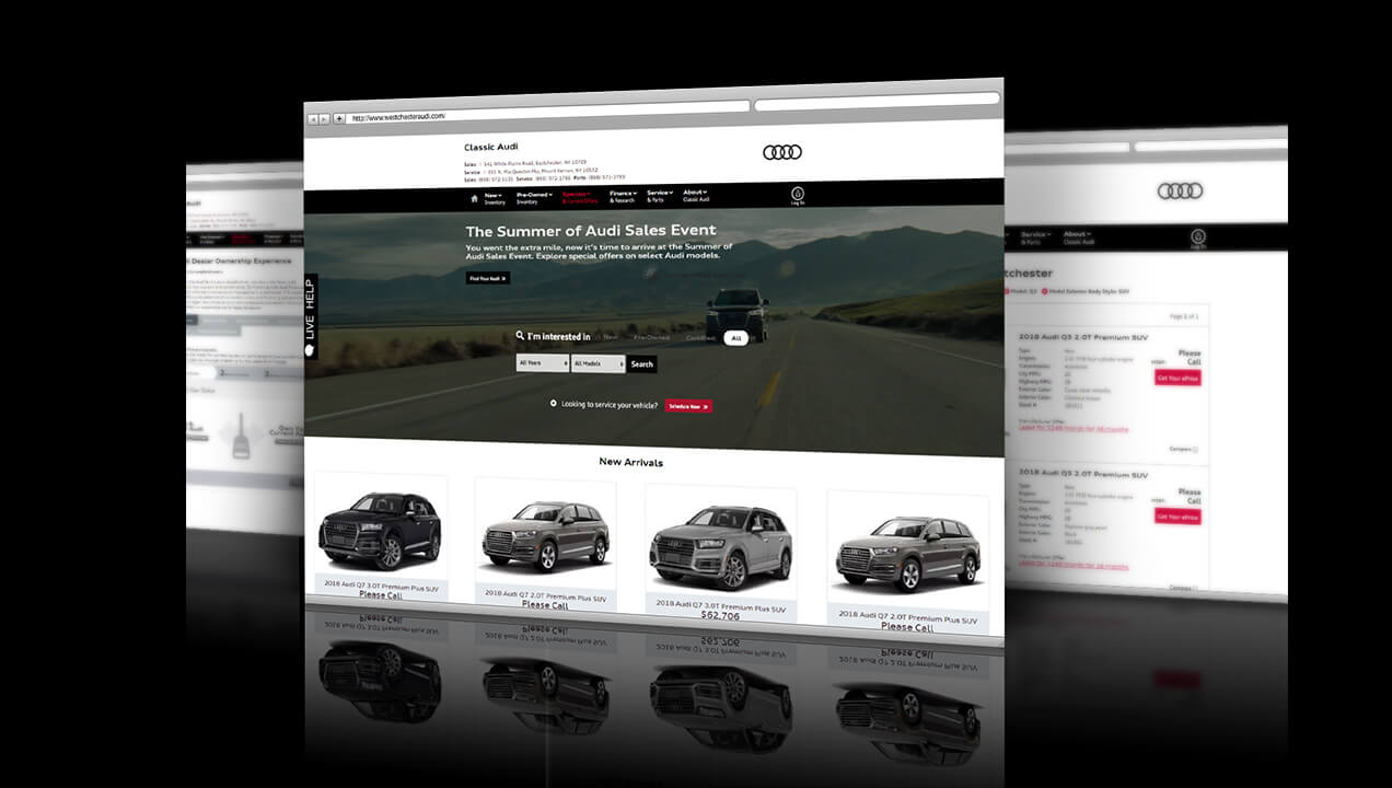 Classic Audi website desktop view