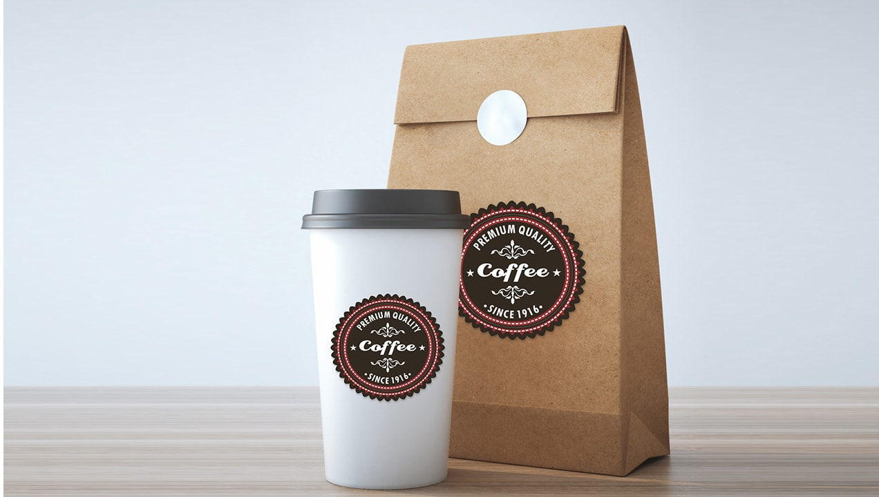 Cut Sheet Labels coffee labels on cup and paper bag
